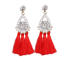 RHINESTONE/RED TASSEL STATEMENT EARRINGS