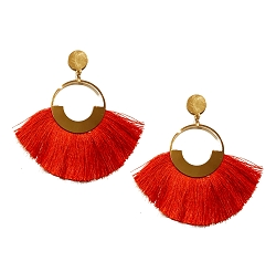RED FAN TASSEL STATEMENT EARRINGS