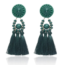 GREEN FRINGE DROP EARRINGS