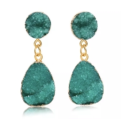 GREEN CRYSTAL DANGLE EARRINGS
