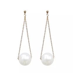 SINGLE PEARL LONG DROP EARRINGS