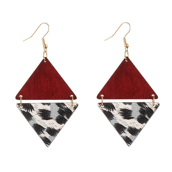 RED DOUBLE PYRAMID LEOPARD EARRINGS