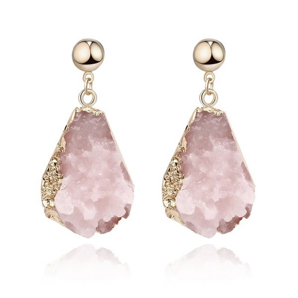 SMALL PINK CRYSTAL DANGLE EARRINGS