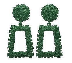 GREEN TRAPEZOID DROP EARRINGS