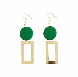 GREEN & GOLD WOODEN CIRCLE EARRINGS