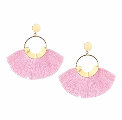 PINK FAN TASSEL STATEMENT EARRINGS